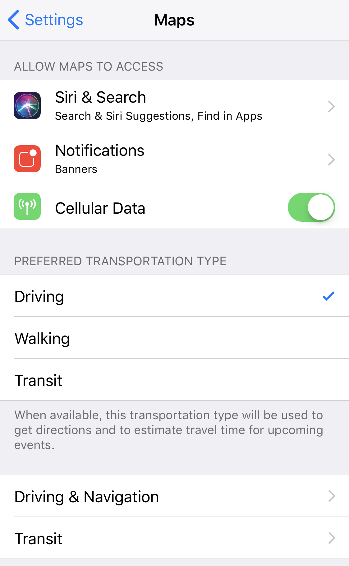 ios11 apple maps preferences settings