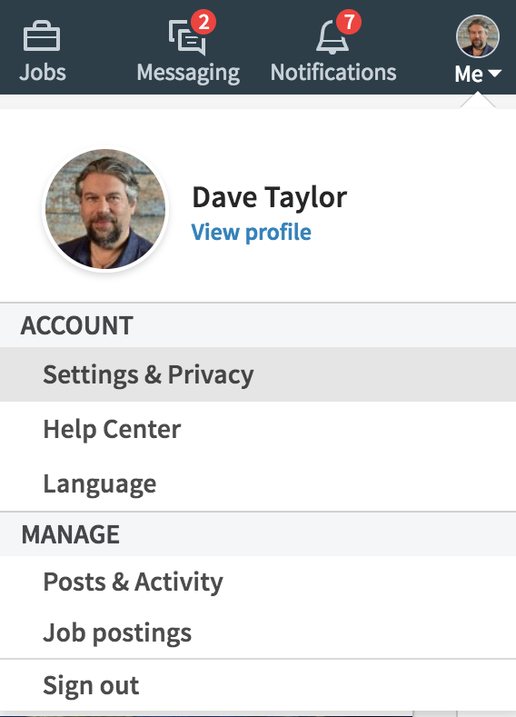 linkedin main menu - settings and privacy