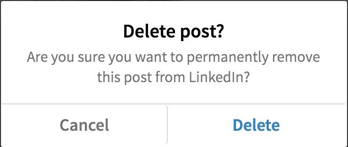 are you sure delete linkedin post