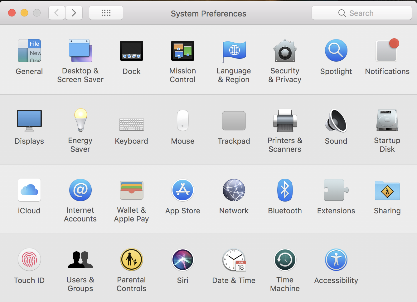 macos x system preferences
