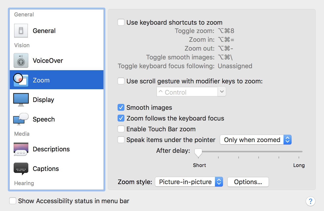 macos x accessibility options