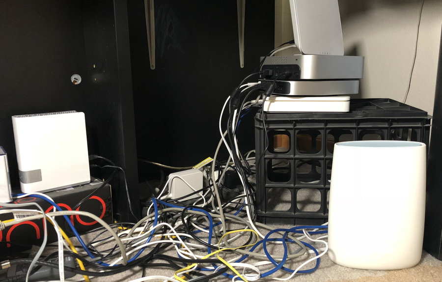 messy office file servers wires