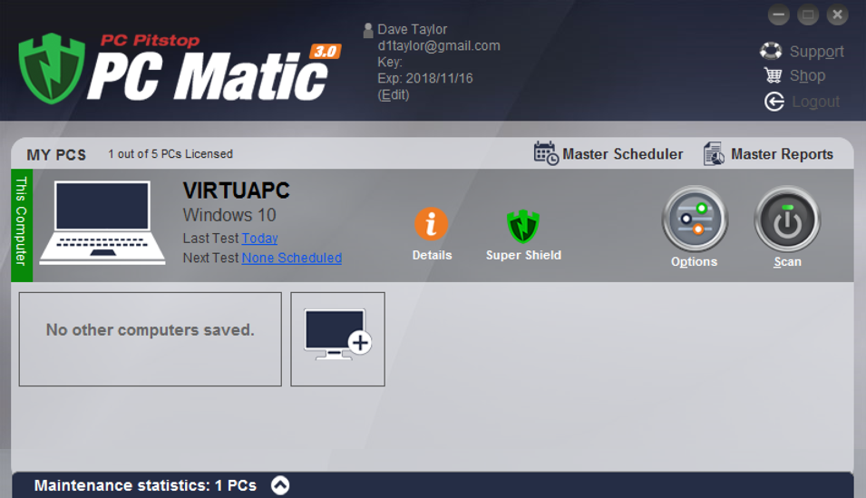 pc pitstop pcmatic main screen