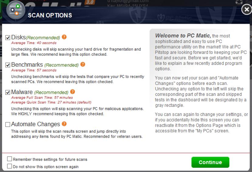 pcmatic easy antivirus scan options