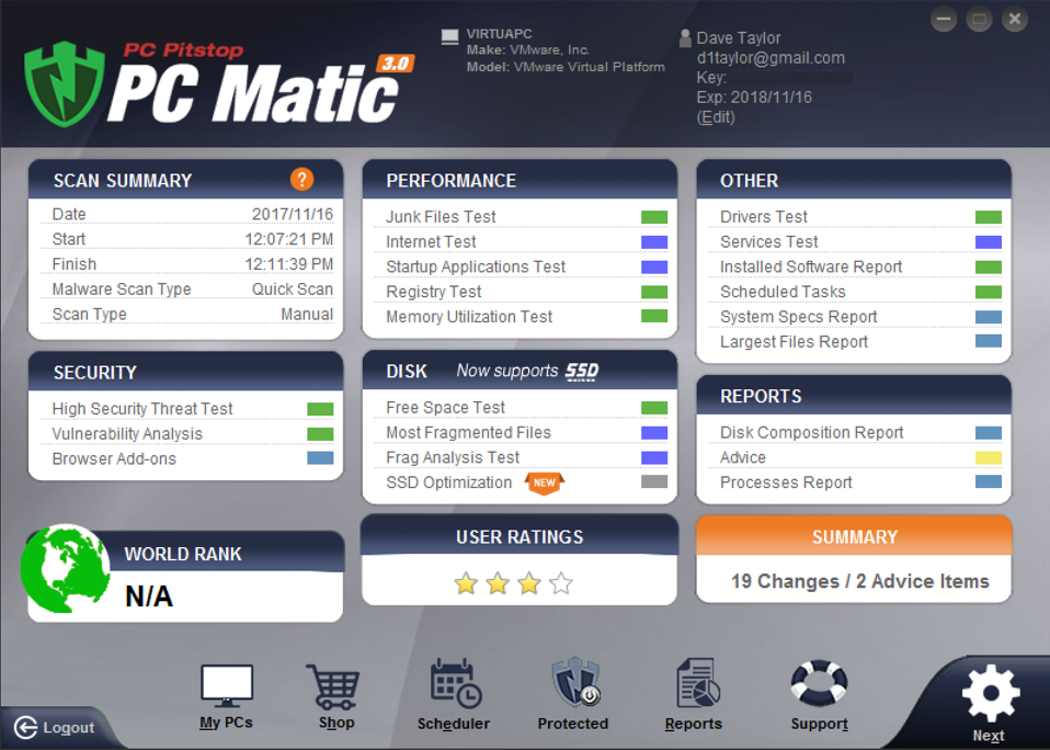 results of pc matic pc pitstop malware scan