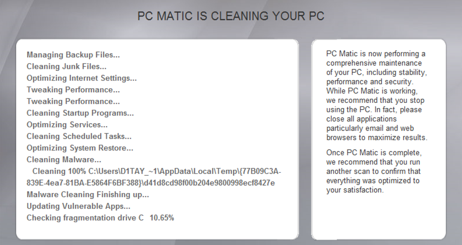 pcmatic cleaning windows win10 pc