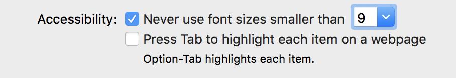 accessibility setting, safari mac