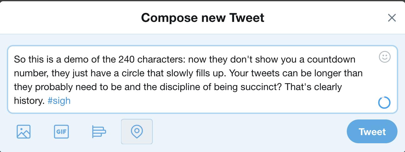 new twitter, short tweet
