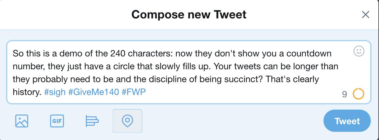 new longer twitter tweet