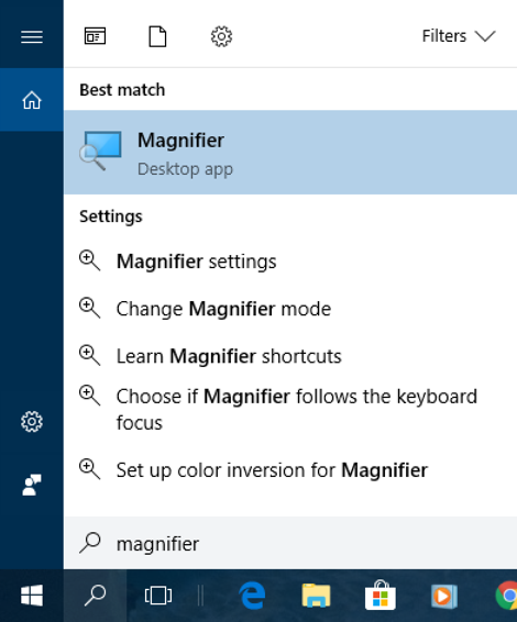 win10 search 'magnifier'