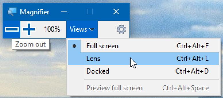 windows magnifier 3 modes