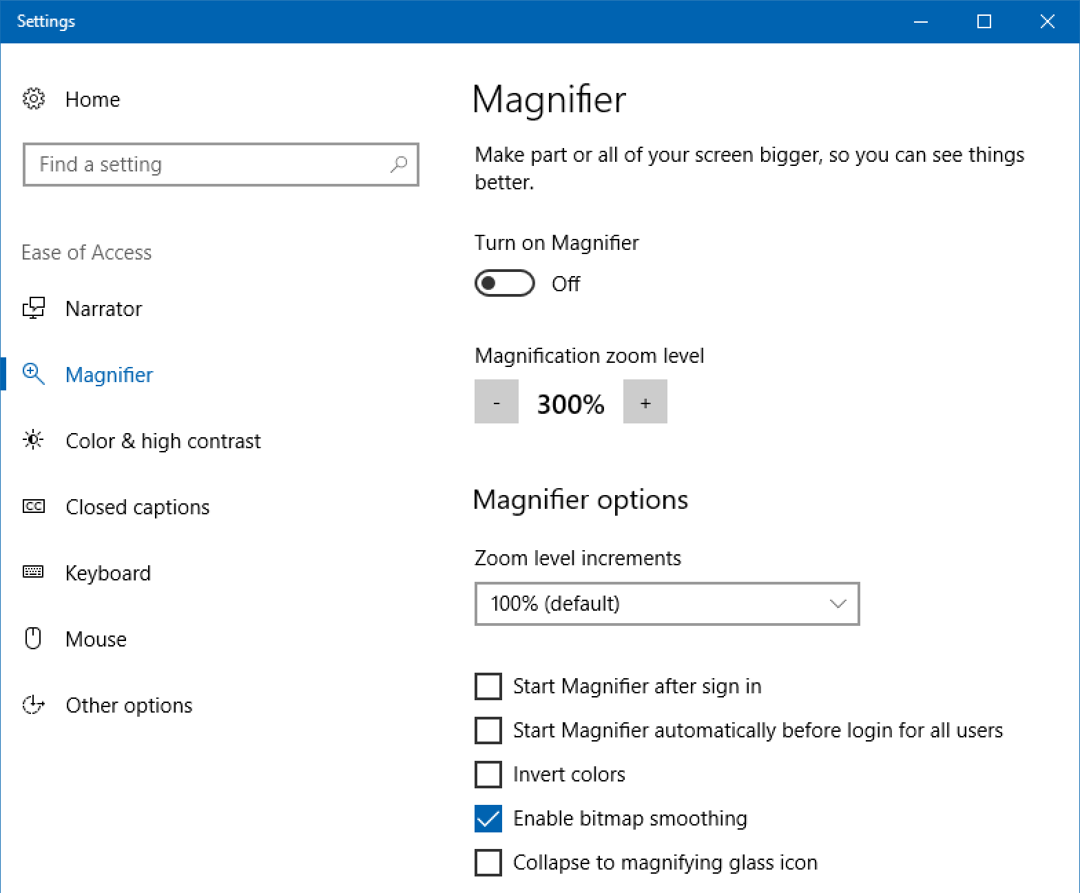 win10 magnifier settings preferences assistive tech