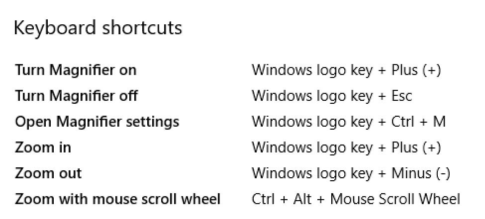windows10 magnifier keyboard shortcuts