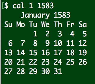 linux cal calendar january 1583