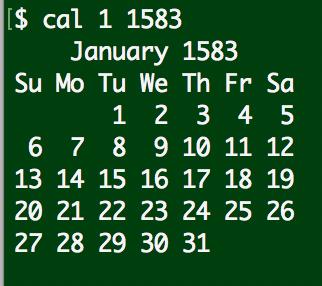 linux cal calendar january 1583
