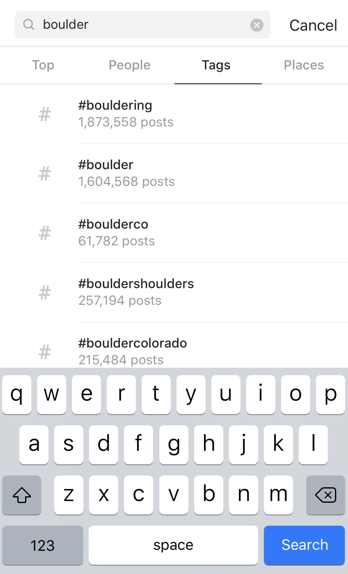 instagram search for #boulder hashtag