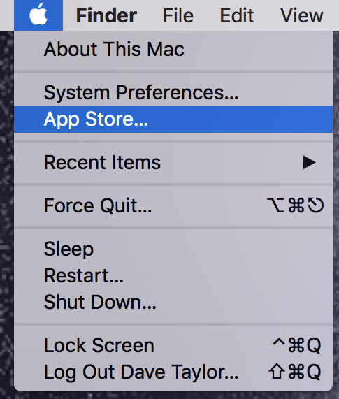 mac apple menu > app store