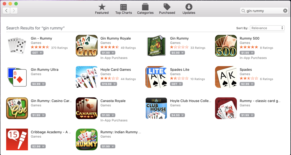 mac app store - gin rummy
