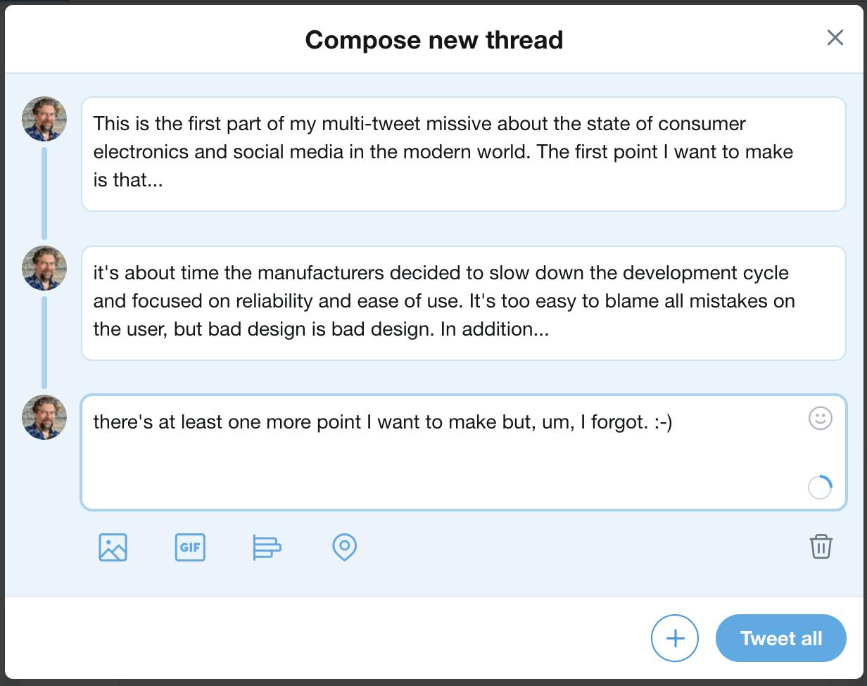 twitter thread tweetstorm three posts tweets