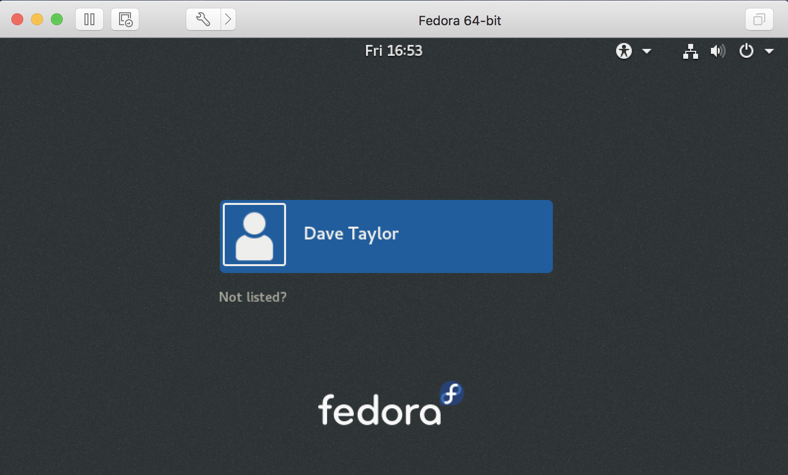 fedora linux - login prompt