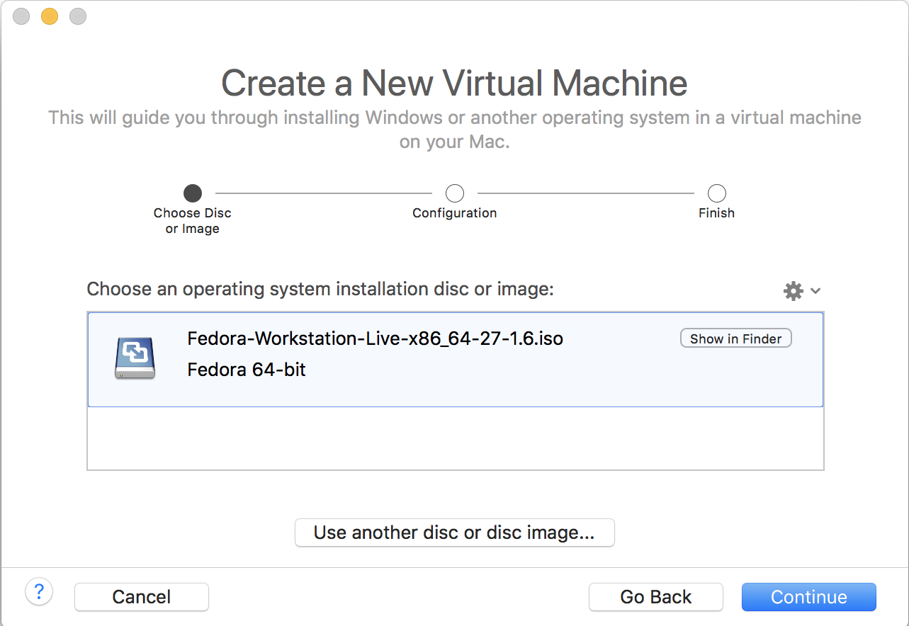 create new virtual machine vmware fusion fedora linux
