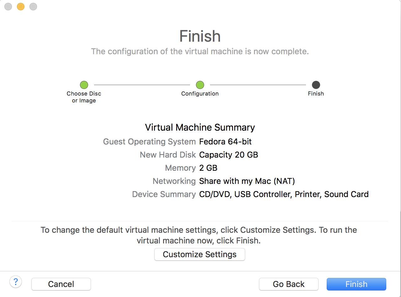 vmware configuration fedora linux install mac macos
