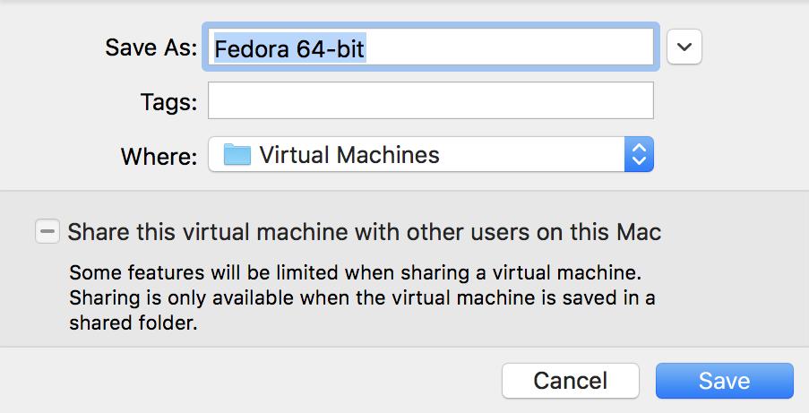 name your vmware fusion virtual machine mac macos x