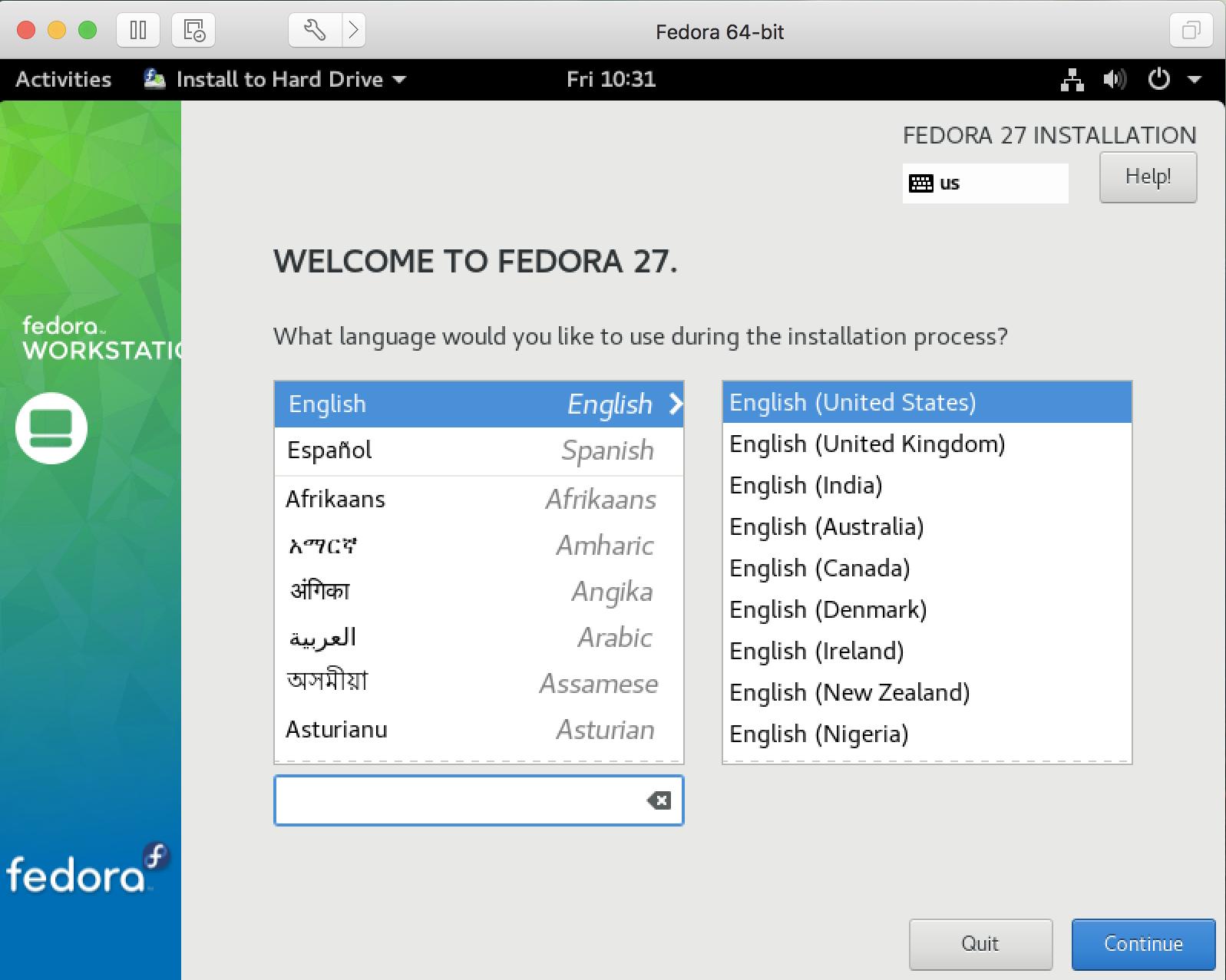install fedora linux - language