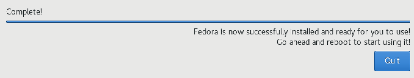 fedora is now successfully installed