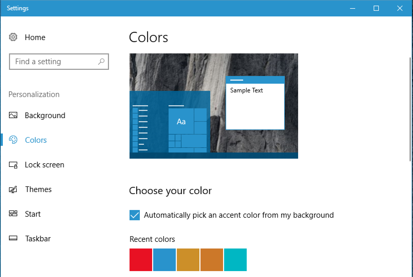 automatic accent color - win10