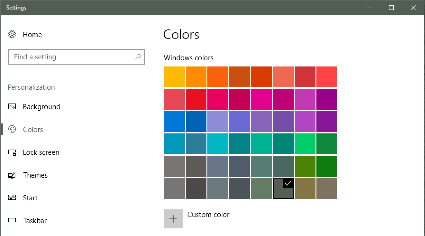 choose accent color palette, windows 10