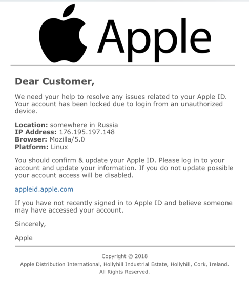 apple id phishing - unauthorized account access