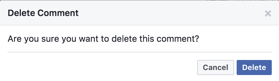 sure you want to delete comment facebook?