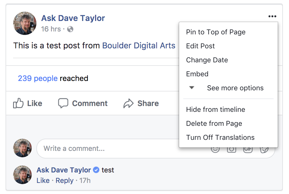 facebook business fan page delete post menu