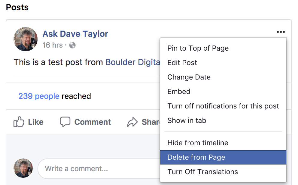 Deleting Comments and Posts From A Facebook Business Page