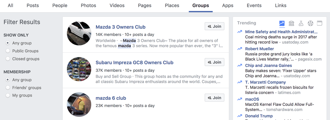 facebook search results - groups