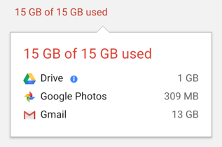 disk space used by google property drive photos gmail