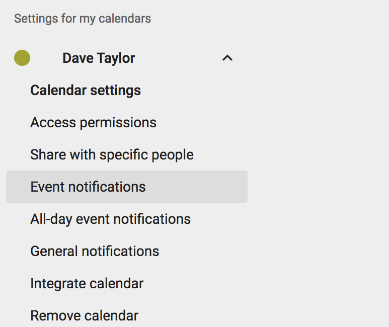google calendar settings options