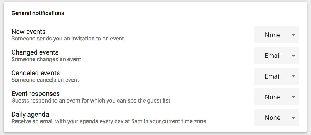 google calendar event notifications email