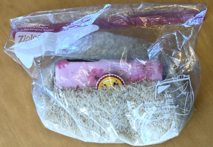 iphone smartphone in bag rice