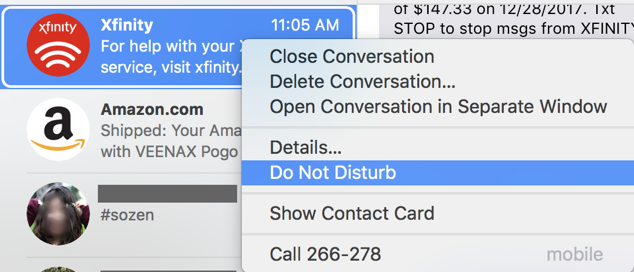 messages / imessage control click menu