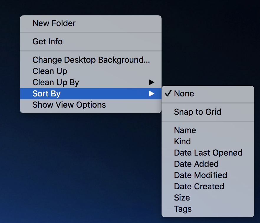 mac macos x desktop icons sort by grid