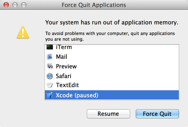 mac macos x your system run out of application memory error
