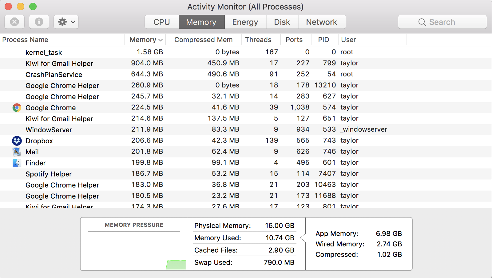 mac activity monitor ram memory usage