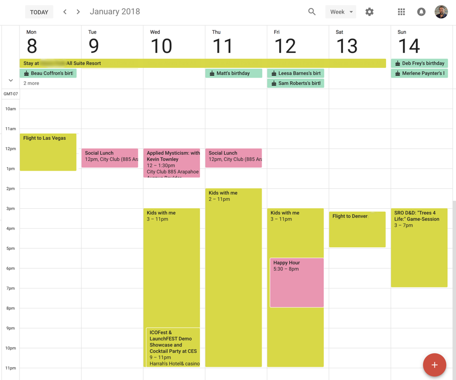 new google calendar week view