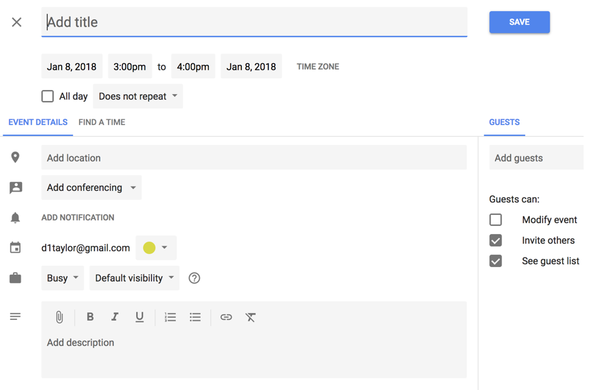 new google calendar - add event