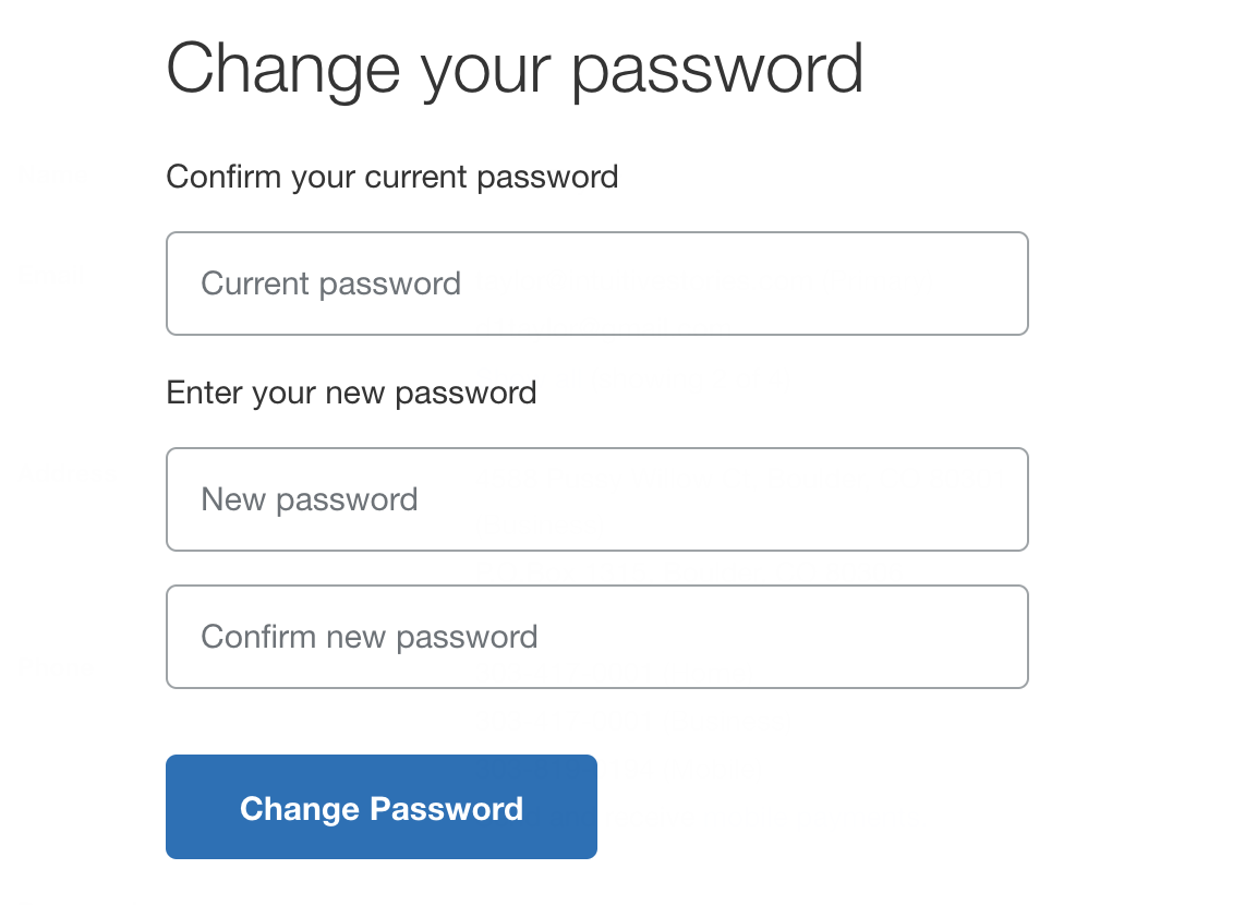 enter new paypal password