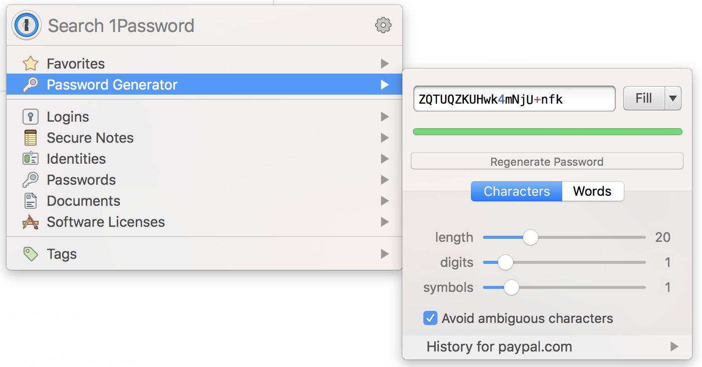 1password generating complex password for paypal
