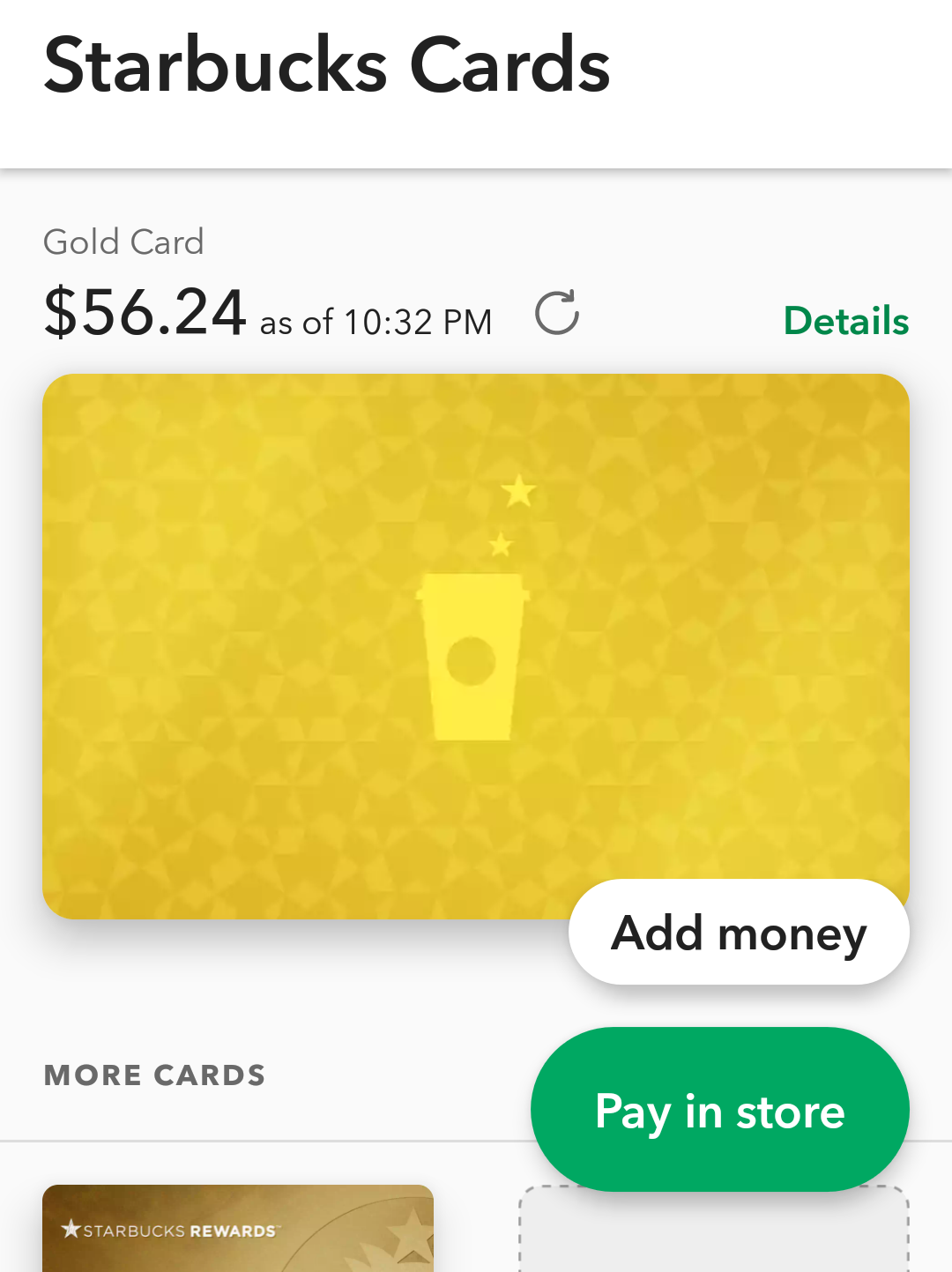 starbucks gold card balance