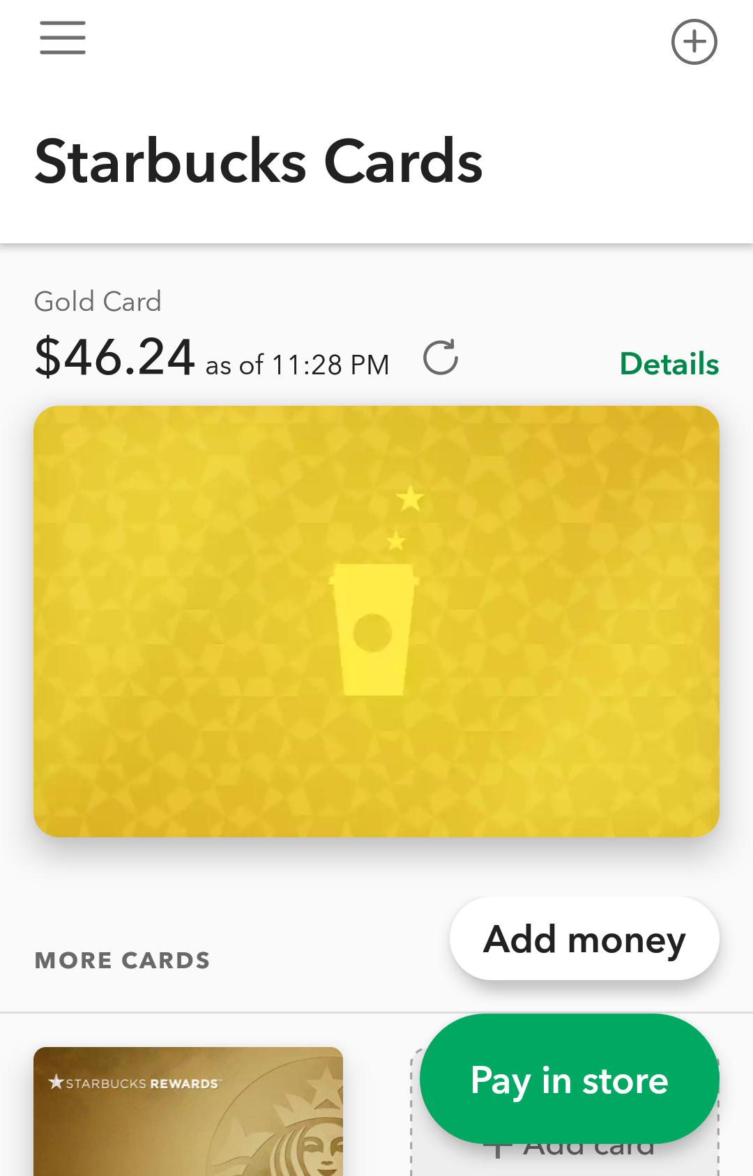 starbucks cards app